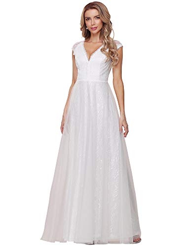 Ever-Pretty Women's Elegant V Neck A Line Empire Waist Lace and Tulle Floor Length White Minimalist Wedding Dress 12UK