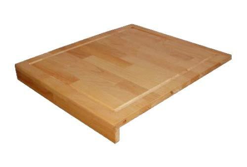 Großes Schneidbrett aus Massivholz Buche geölt, Küchenbrett, Tranchierbrett mit Saftrille und Anlegeleiste, echts Holz