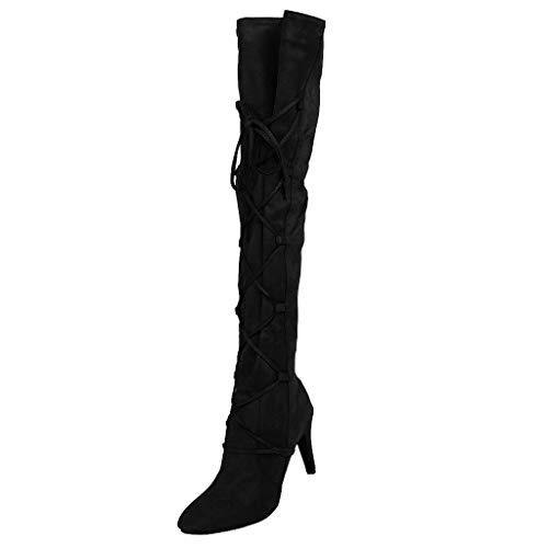 Botas de Mujer con Cordones en la Rodilla, de Piel sin Tratar, para Invierno, Elegantes y cómodas, con Cordones Plisados, para Danza, Color Negro, Talla 40 EU