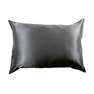 100% Silk Pillowcase for Hair Zippered Luxury 25 Momme Mulberry Silk Charmeuse Silk on Both Sides of Cover -Gift Wrapped- (Standard, Charcoal Gray)