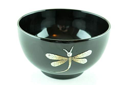viethuy03 Bol fait main en bois laqué incrusté de coquille d'œuf Bol alimentaire et décoratif Noir H019