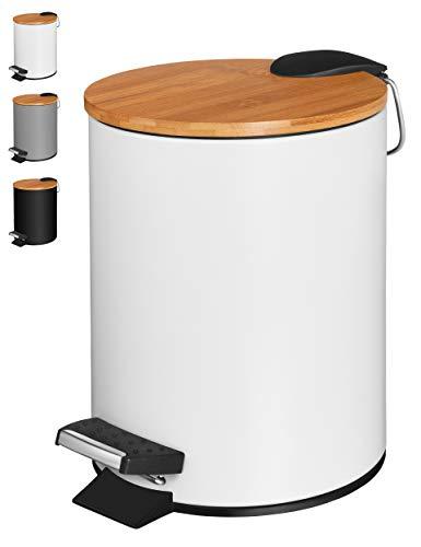 VMbathrooms 3L Kosmetikeimer in edlem weißem Design/Tretmülleimer mit Absenkautomatik (Soft Close) / Eleganter Eimer fürs Bad mit Innenbehälter und Bambus-Holzdeckel