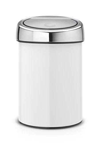 Brabantia touch bin 3 l avec contenant en plastique blanc