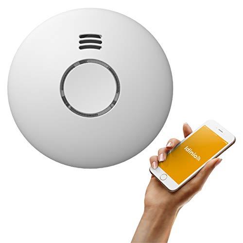 idinio® Detector de Humo y Calor Inteligente WiFi. App para iOS, Android. EN 14604. Notificación de urgencia. Compatible con Amazon Alexa, Google Assistant. Botón de Prueba. 2xAA baterías Incluidas