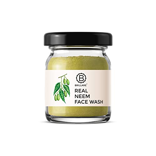 Brillare 100% Natural Real Neem Face Wash   For Acne Prone Skin   Clears Pimple, breakouts and blemishes   Contains Neem and Bergamot  No Chemicals, No Preservatives, Sulfate & Paraben Free