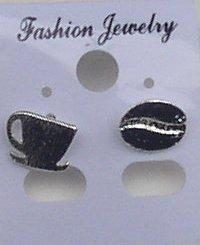 Deko Store Ohrringe Barista Silber Kaffeebohne und Kaffeetasse im Set Modeschmuck