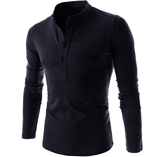 DNOQN Herren Langarmshirt Poloshirt Slim Fit Mit Knopfleiste Mode Langarm Blusen Nadel Zeigen Herbst Lässige Passform Baumwolle Round Top Bluse Marine XL