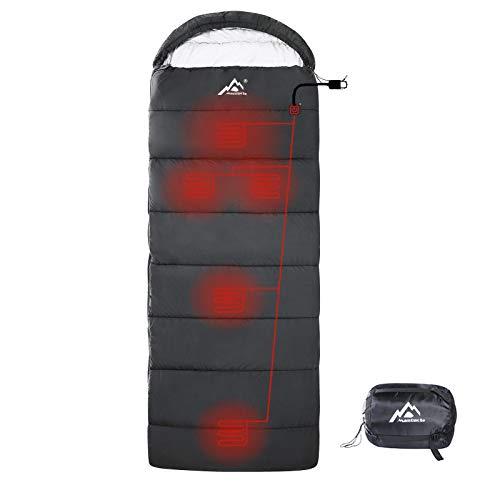 MANTUOLE Beheizter Schlafsack, rechteckig, 5 Stück, Multi-USB-Stromunterstützung, Heizkissen, betrieben mit Akku-Powerbank oder anderen USB-Netzteilen, wasserdichtes Nylon, Umschlag, Schwarz