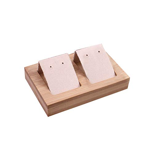 ZJL220 Expositor de joyas de piel de bambú bandeja para pendientes extraíble organizador para pendientes