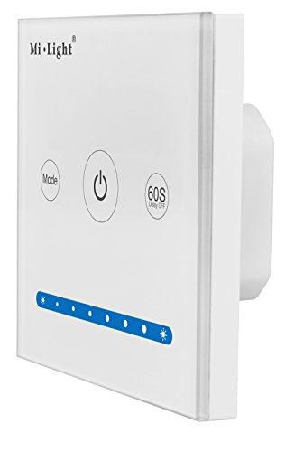 LIGHTEU, Smart-Panel-Controller P1 original MiLight weißes Glas Touch Panel LED-Controller DC12V 24V 2-Kanal Helligkeit Dimmen Kontrolle für LED-Streifen