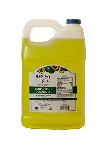 Massimo Gusto Avocado Oil, Extra Virgin (128 fl oz total) - Naturally Refined - 100% Pure - 1 Gallon Bottle - Keto - Paleo - Food Service