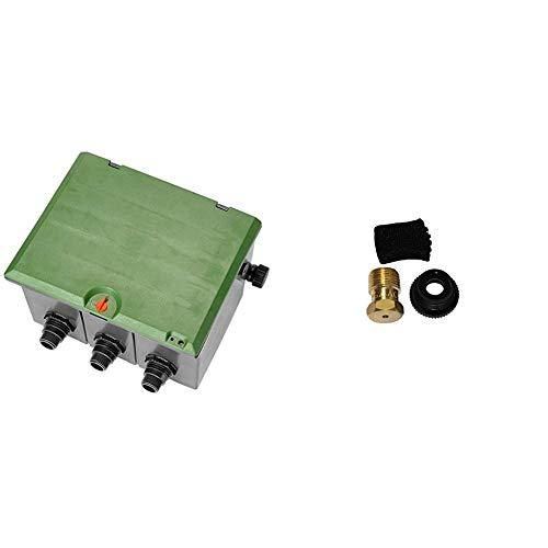 Arqueta pre-montada de 3 vías Para colocar 3 electroválvulas de 9 ó 24 V & Gardena Sprinklersystem Entwässerungsventil, Zubehör für T-Stück 25 mm x 3/4 Zoll Innengewinde, für automatische Bewässerung
