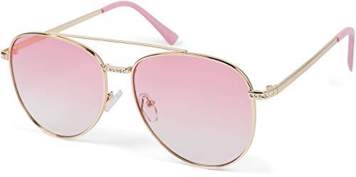 styleBREAKER Damas Aviadoras Gafas de sol con aplicación de estrás, lentes de policarbonato tintado y marco de metal 09020119, color:Montura de oro / vidrio Gradiente rosa