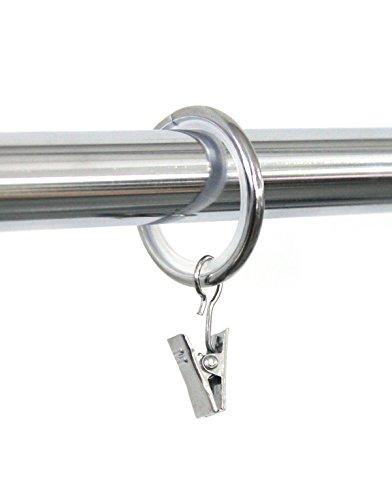 100 Stück glänzend Gardinenringe für Gardinenstange / Vorhangstange 16mm, 19mm, 20mm Durchmesser (Chrom mit Gleiteinlage und Klammer) 100er-Set Ringe mit Clips für Vorhänge, Schiebevorhänge, Gardinen