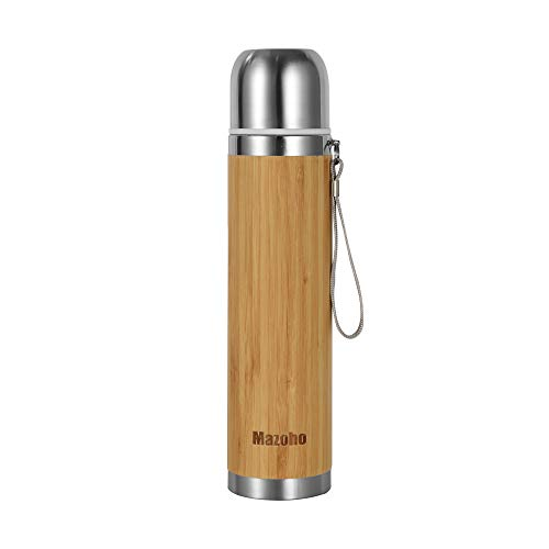 Mazoho Bamboo coffee thermos water bottle,17oz Double wall stainelss steel Insulated Vacuum Flask,Leak Proof coffee thermoses Hot & Cold for Hours