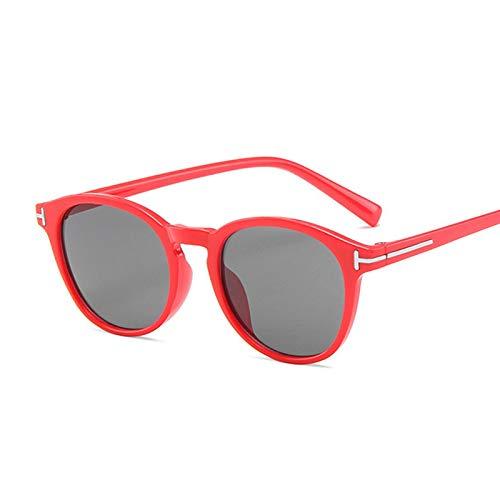 NJJX Gafas De Sol Vintage Con Forma De Ojo De Gato Para Mujer, Gafas De Sol Redondas Con Gradiente Para Hombre Y Mujer, Retro, Marrón, Negro, Espejo, Rojo, Gris