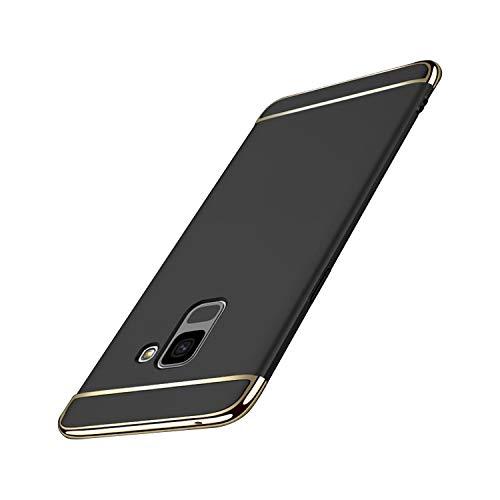 Dqueen-eur Galaxy A8 2018 Hülle Case, 3-Teilige Extra Dünn Hart Slim Thin Hard Cover Stylich Hochwertig Schutzhülle Schale Handy Hülle für Galaxy A8 2018 [3 in 1] (Galaxy A8 2018, Schwarz)