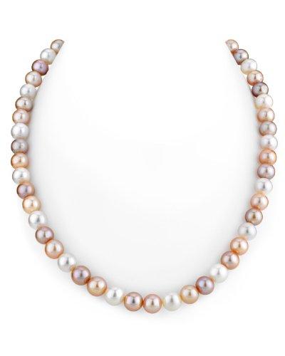 THE PEARL SOURCE - Mehrfarbige Perlenkette AAAA 8-9mm Süßwasser Zuchtperlen Halsketten für Frauen - Perlen Kette Matinee - Länge 50cm - mit Gelbgoldverschluss