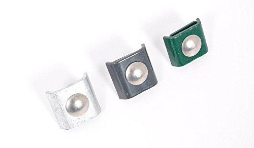 5 x Doppelstabmatten-Verbinder/Gittermatten-Verbinder/Eckverbinder aus verzinktem, grün (RAL 6005) pulverbeschichtetem Stahl für Metallzäune mit Einer Drahtstärke von 6/5/6 mm.
