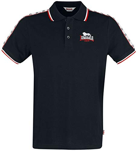 Lonsdale London Mens HUNSTANTON Polo Shirt, Black, XXXL