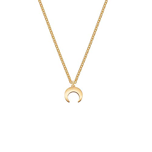 Horn Pendant Necklace, Rose Gold Plated Stainless Steel Moon Necklace Tiny Small Horn Choker Necklace Delicate Mini Moon Charm Necklace for Women Girls