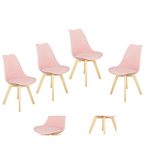 Sedia Nordic Simple Office Computer Study Chair Dining Chair (rosa, set da 4 pezzi)