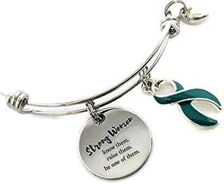 Strong Women: Teal Awareness Ribbon Bracelet