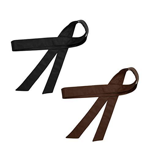 TeeYee Frauen Damen Obi PU Leder Gürtel einfarbig Bereit Tailleband 172cm schwarzkaffee