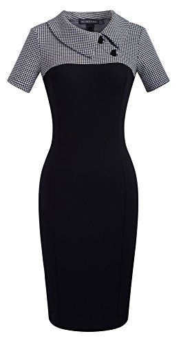 HOMEYEE Damen Vintage Langarm Elegant Kleid Business Party Cocktailkleid Knielanges Abendkleid B238 (EU 36 (Herstellergroesse: S), Weiß + Kurzarm)