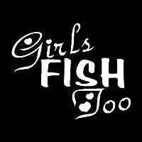 車のステッカーとデカール12.4 * 10CM GIRLS FISH TOO自己粘着性の防水ウォールステッカー車の冷蔵庫のキッチンデコレーション用デカール(3個)