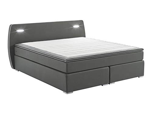 Atlantic Home Collection REX160-LED03 Boxspringbett inklusive LED Beleuchtung und Topper, Dunkelgrau, 160x200 cm