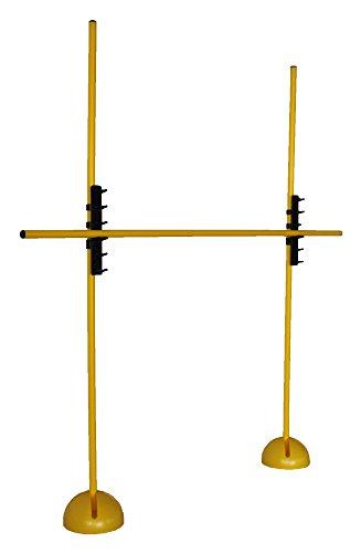 Set ostacoli allenamento XS160yl (3 aste , 2 basi riempibili a X, 2 ganci graduabili), colore: giallo