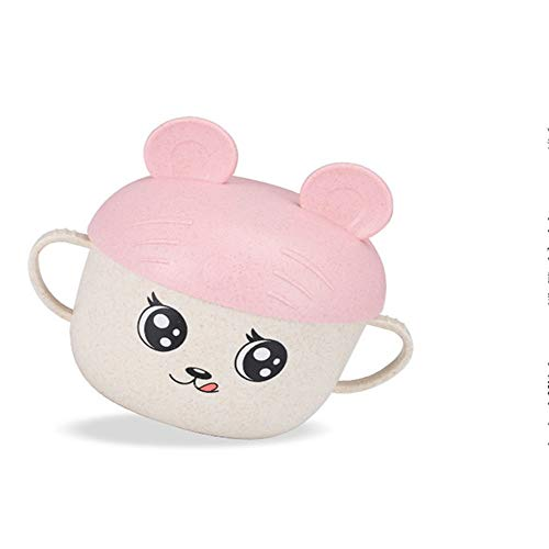 Creative Children's Rice Bowl Wheat Straw Cute Cartoon Cup with lid Baby Feeding Tableware Heat-Resistant Food Container with Lid and Spoon Random Color
