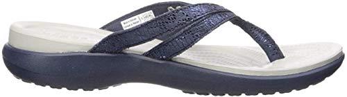 Crocs womens Crocs Women's Capri Strappy   Casual Comfortable Sandals for Women Flip Flop, Metallic Navy, 11 US