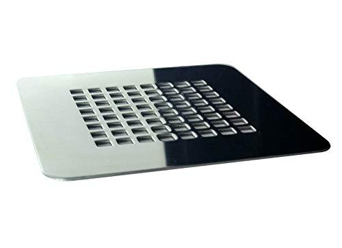 Rejilla cuadrada de 13,2 X 13,2 cm en acero inoxidable para platos de ducha de resina,pizarra,mármol,piedra