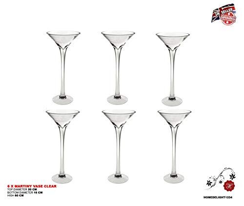 6x 60cm Martini Glas Vase Tisch Mittelpunkt Hochzeit Dekorationen