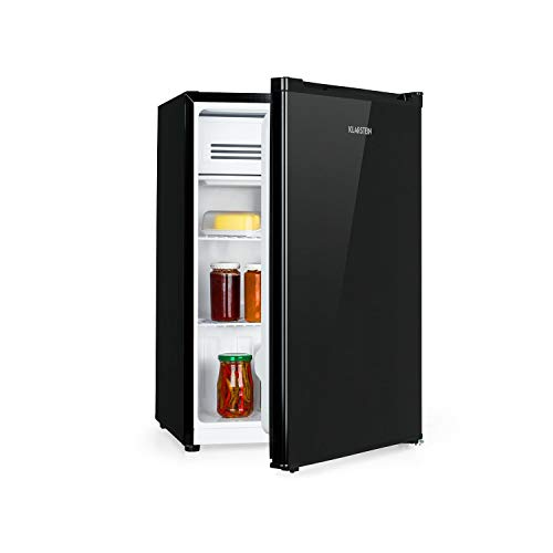 Klarstein Delaware Refrigerator - 76 litres Total Capacity, Energy Efficiency Rating A ++, 2 Flexible Glass Trays, Freezer Compartment: 4 litres Capacity, Bottle Tray Up to 2 litres, Colour: Black