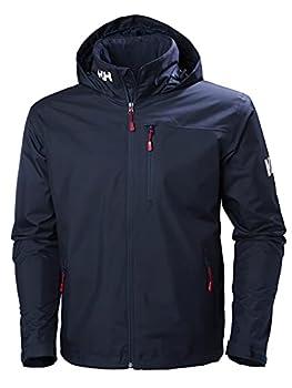 Helly Hansen Men s Standard Crew Hooded Midlayer Fleece Lined Waterproof Raincoat Jacket 597 Navy X-Large