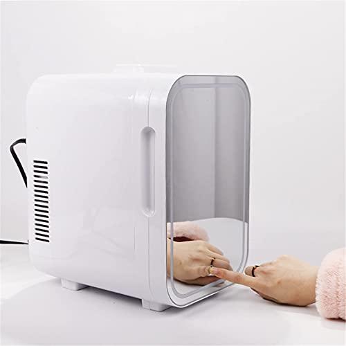 2 en 1 Frigoríficos para el hogar Home 4L / 6L Mini refrigeradores con función de enfriamiento y calefacción, refrigerador de cosméticos con espejo de maquillaje y luz LED, congelador pequeño para min