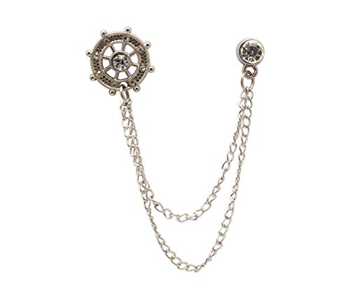 Knighthood Silver Crystal Ships Wheel with Metal Hanging Chain Lapel Pin Badge Coat Suit Wedding Gift Party Shirt Collar Accessories Brooch for Men