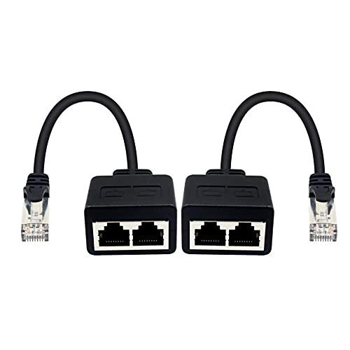 EasyULT 2X Cable de Red, RJ45 Puerto Ethernet Divisor, Cable de Red Duplicador LAN de Conexión, 1 Macho a 2 Hembra Adaptador para Ethernet, 20cm(Negro)