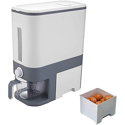 Dispensador de arroz, Recipiente de Grano Sellado Cubo de arroz, arroz Contenedor dispensador automático de arroz con Taza de arroz medible Cubo de arroz con medición