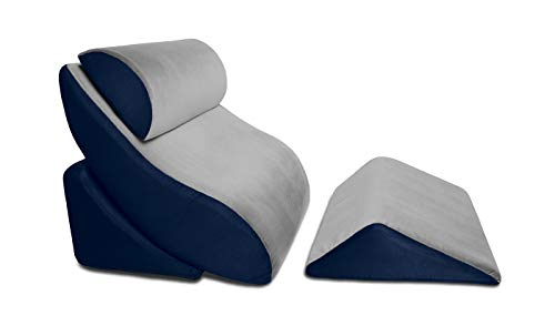 Avana Kind Bed Orthopedic Support Wedge Pillow Comfort System, Grey/Navy