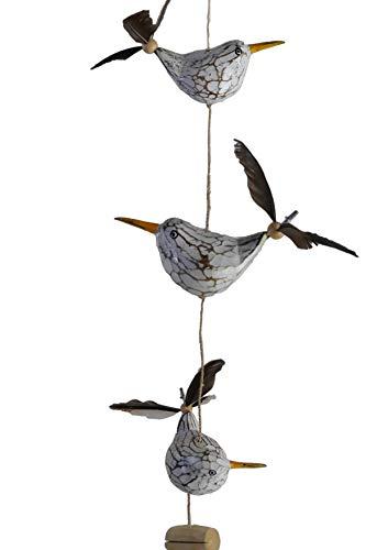 ART-CRAFT Decorazione a vento con gabbie, 3 uccelli decorativi con piume di elica in legno, decorazione marittima, balcone o come decorazione da giardino con 3 molle di ricambio