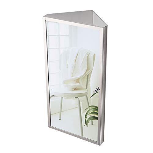 HSRG Edelstahl Badezimmereckschrank mit Spiegel und 3 Ablagen Badezimmerschrank Einzelspiegeltür