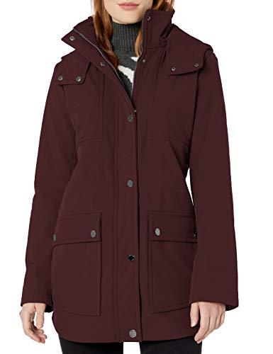Kenneth Cole New York Women's Mid Length Anorak Jacket with Removable Hood, Rum Raisin, Medium
