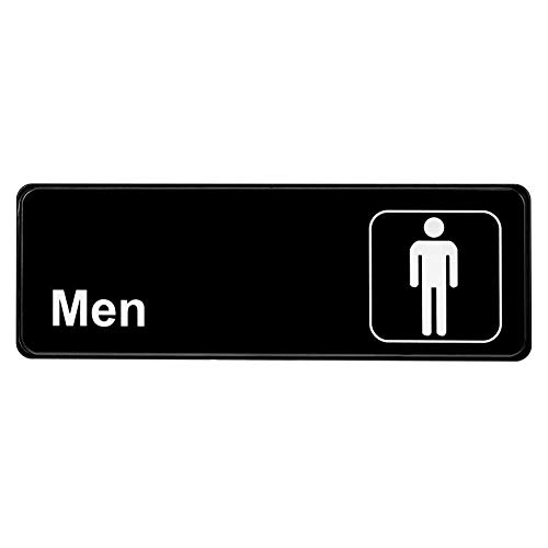 Alpine Industries Men's Restroom Sign - Black & White Door Placard w/Adhesive Back – Visible Signage for Public Male Office & Restaurant Bathrooms