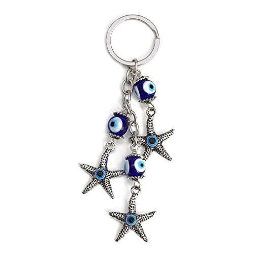 Llavero con Dije de Estrella de mar de aleación de Mal de Ojo, Cuentas de Cristal de Ojo Turco Azul, Soporte de Llavero de Color Plateado para Mujeres y niñas, joyería