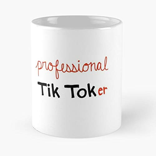 Teen Black Youth Logo Tiktok Red Handwritten Video Mejor Taza de café de cerámica de 11 oz