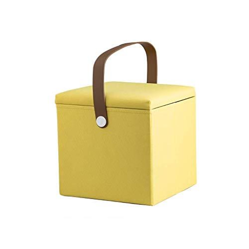 NMDCDH Reposapiés de Almacenamiento Plegable de 12 Pulgadas, Banco de Zapatos con Asiento otomano, Caja de Almacenamiento de Juguetes de Tela Oxford extraíble (Color: Amarillo)